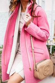 Allovely Solid Color Zipper Wool Coat
