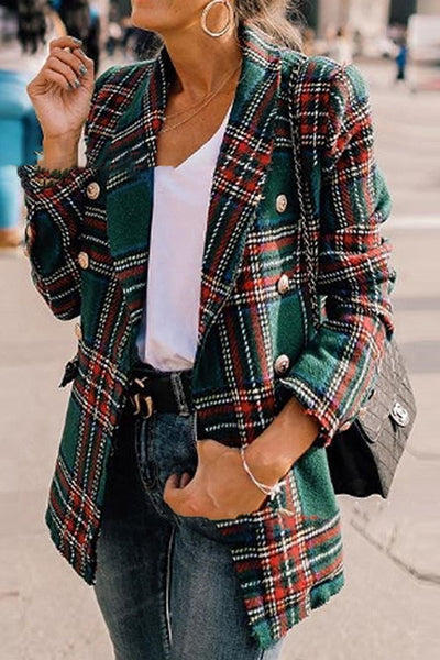 Allovely Plaid Wool Lapels Coat