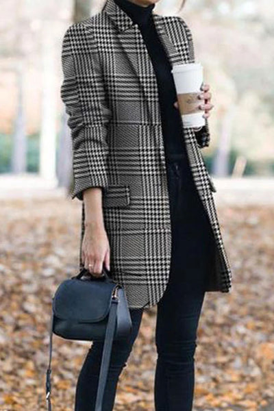 Allovely Folded Collar Check Print Coat