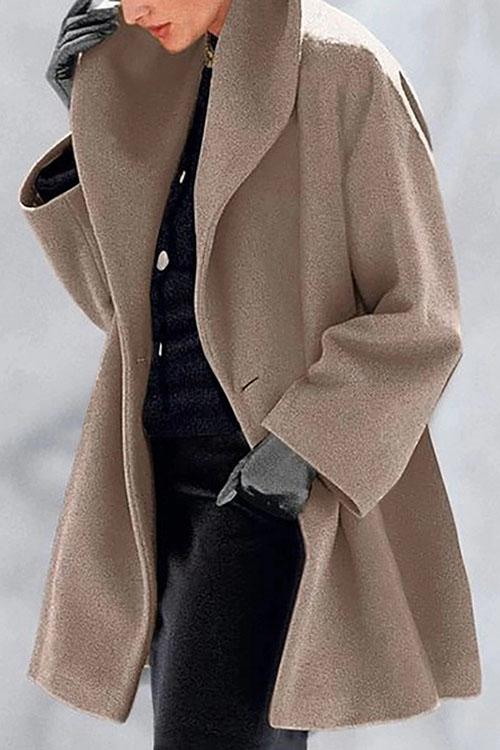 Allovely Solid Color Lapel Simple Coat