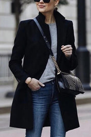 Allovely Black Turtleneck Long Coat