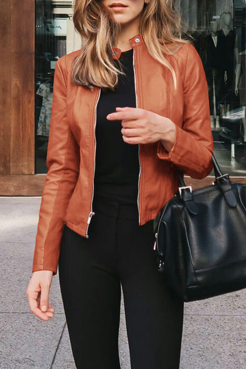 Allovely Solid Color Zip Leather Jacket