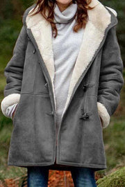Allovely Casual Plus Velvet Warm Hooded Coat
