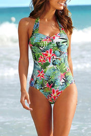 Allovely Halter Flowral Print One Piece