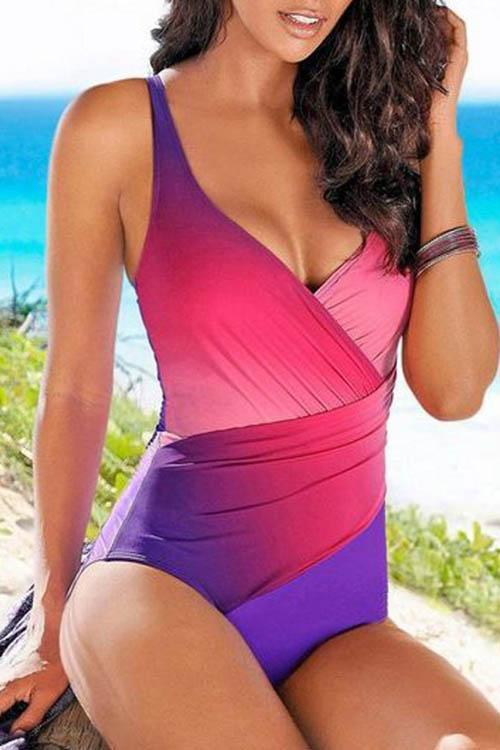 Allovely Gradient Cross One Piece