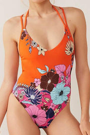 Allovely Back Knitted Halter Print One Piece