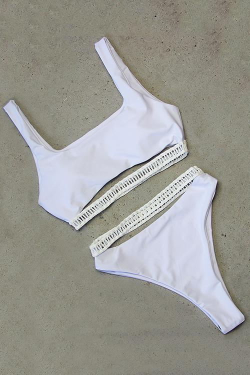 Allovely Hollow Stripe Bikini Set