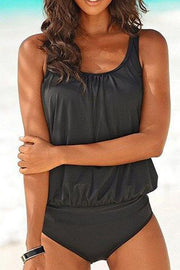 Allovely Solid Color Strap Tankini
