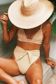 Allovely Stripe High Waist String Bikini