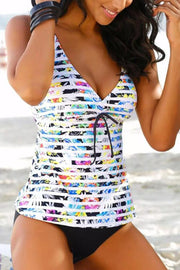Allovely V-Neck Stripe Print  Bandage Tankini