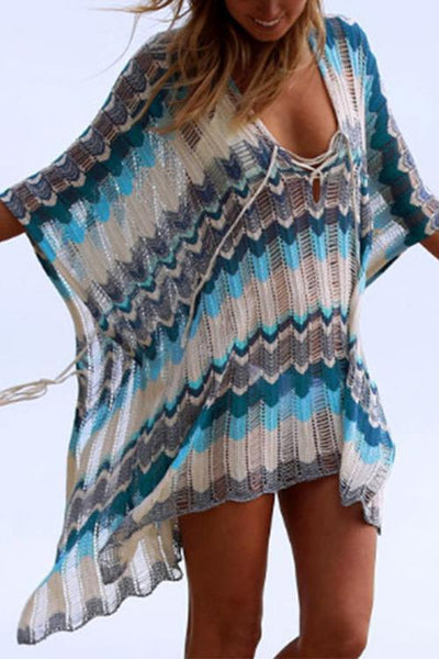 Allovely Contrast Strap Knit Cover Up