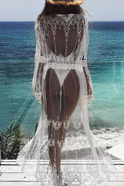 Allovely Lace Sheer Splicing Cover Up