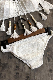Allovely Knit Hollow Solid Bikini