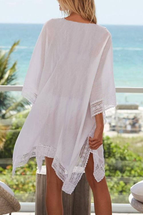 Allovely Chiffon Lace Solid Cover Up