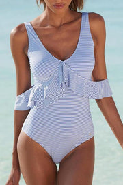 Allovely Multiple Ways Wear Stripe One Piece
