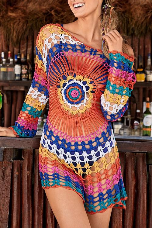 Allovely Bohemian Colored Knit Cover Up