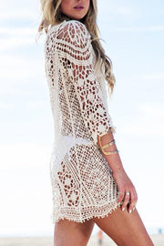 Allovely Lace Hollow Solid Color Cover Up