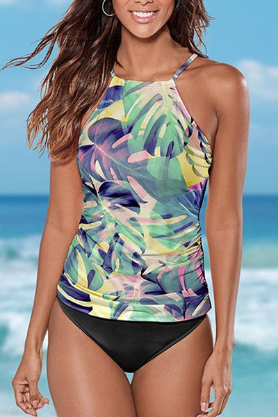 Allovely Floral Print Cross Strap Tankini