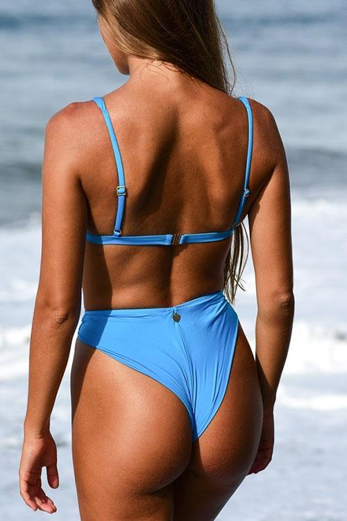 Allovely Solid Color High Waist String Bikini
