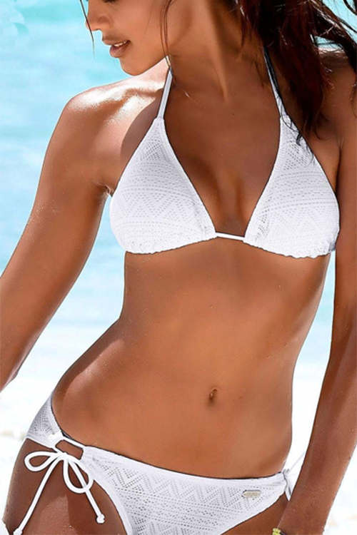 Allovely Net Yarn Solid Color Halter Bikini