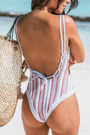 Allovely Stripe Floral Print One Piece