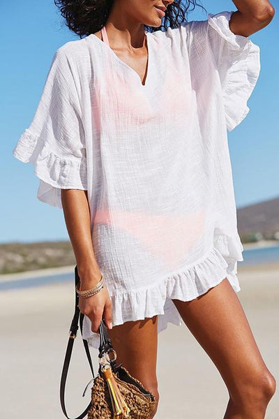 Allovely V Neck Solid Color Cover Up