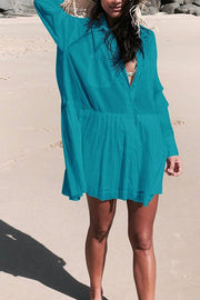 Allovely V-Neck Button Long Sleeves Cover Up