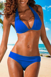 Allovely Creased Halter Push Up Bikini