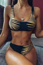 Allovely Golden Leaf Print Bikini