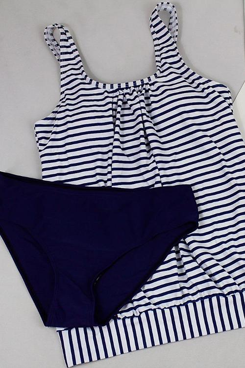 Allovely Striped Print Loose Tankini