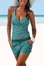 Allovely Dot Print Cross Tankini