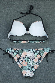 Allovely Floral Print Halter Push Up Bikini
