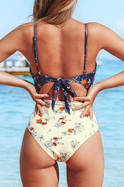 Allovely Flower Print Cross High Waist One Piece