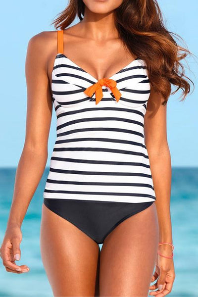 Allovely Striped Bow Split Tankini
