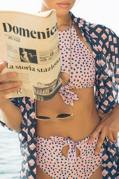 Allovely Hanging Neck Hollow Lace Bikini