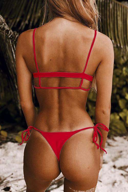 Allovely Solid Color Sexy Hollow Bikini