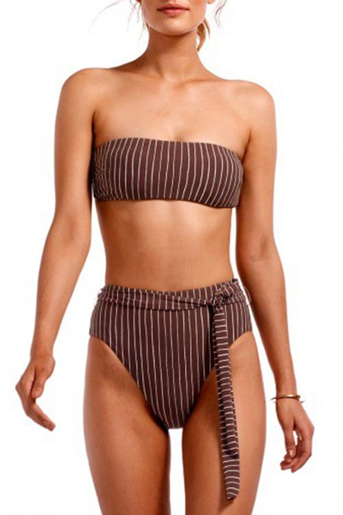 Allovely Stripe Bikini Set With High Waisted Bottom
