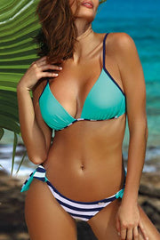 Allovely Solid Color Striped Strap Bikini