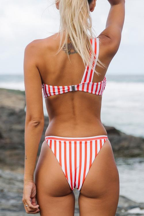 Allovely Striped Printed One Shoulder Bikini