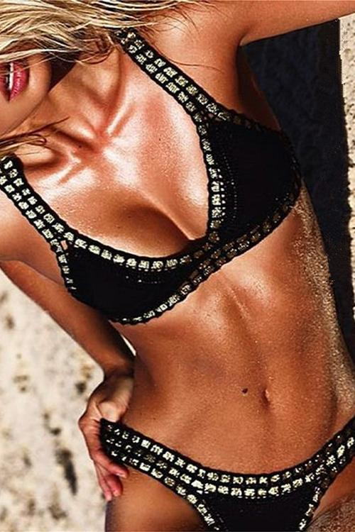Allovely Phnom Penh Black Crochet Bikini