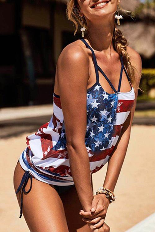 Allovely Flag Print Bandage Tankini