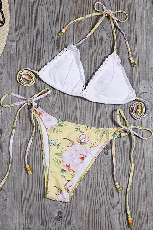 Allovely Halter Neck Flower Print Bikini