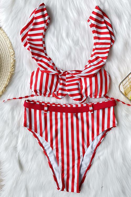 Allovely Retro High Waist Striped Bikini