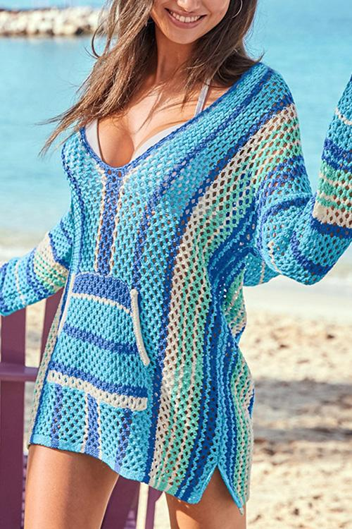 Allovely Gradient Knitting Cover Up