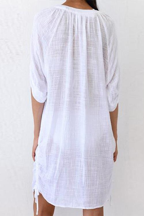 Allovely V-Neck Loose Short Sleeves Cover Up