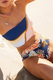 Allovely Bandeau Geometric Flower Print Bikini
