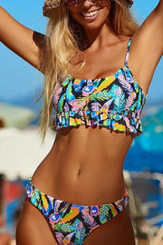 Allovely Tropical Print Ruffled Bikini