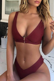 Allovely High Leg Zipper Front Deep V Bikini