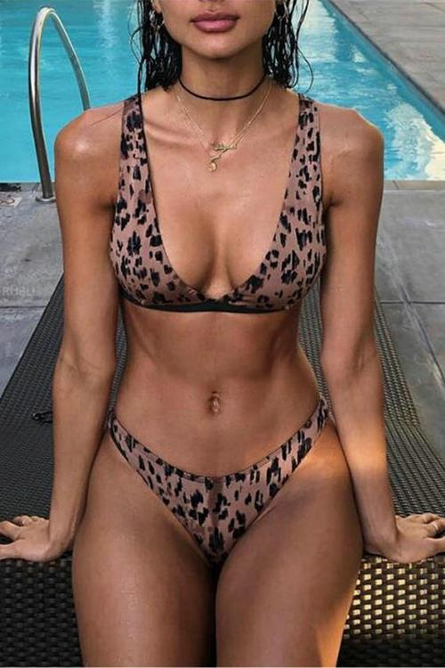 Allovely Sexy Leopard Low Waist Bikini