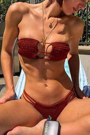 Allovely Pleated Hollow Strapless Bikini
